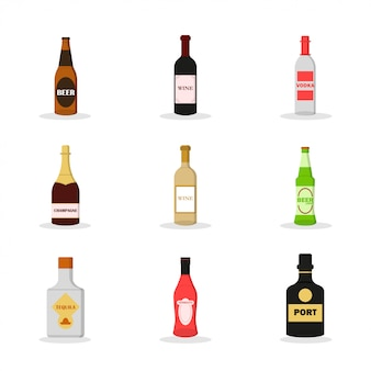 Płaski zestaw alkoholu. napój alkoholowy. zestaw ciemnego piwa, czerwonego wina, wódki, szampana, białego wina, lekkiego piwa, tequili, wermutu, portu