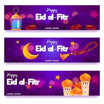 Płaski zestaw banerów eid al-fitr