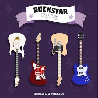 Płaski zestaw czterech kolorowych gitar elektrycznych