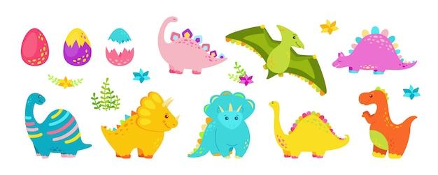 Płaski zestaw dinozaurów. kolekcja kreskówek gadów, dino drapieżników i roślinożerców. śmieszne kolorowe dinozaury. projekt dla dzieci do tkanin lub tekstyliów.