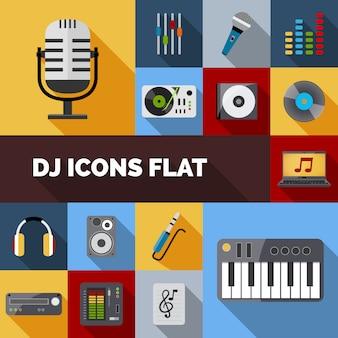 Płaski zestaw dj ikony