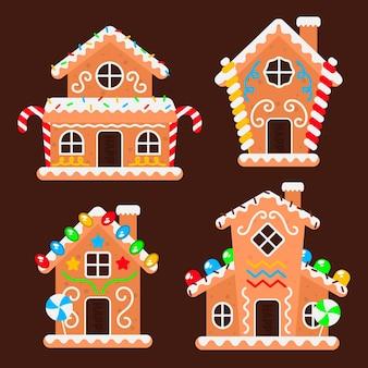 Płaski zestaw domków z piernika