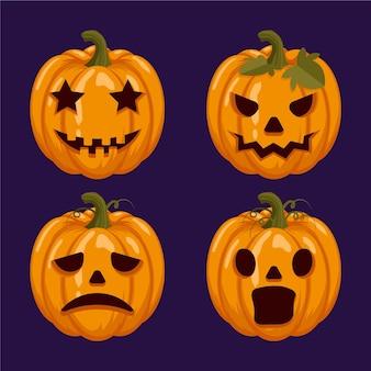 Płaski zestaw dyni halloween
