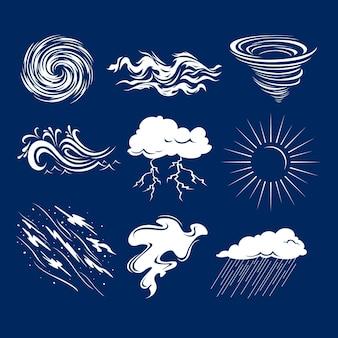 Płaski zestaw efektów pogodowych