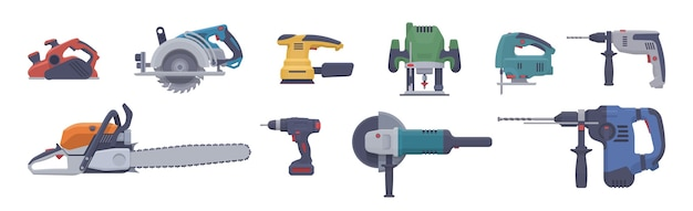 Płaski zestaw elektronarzędzi. pojedyncze narzędzia elektryczne. ilustracja. kolekcja