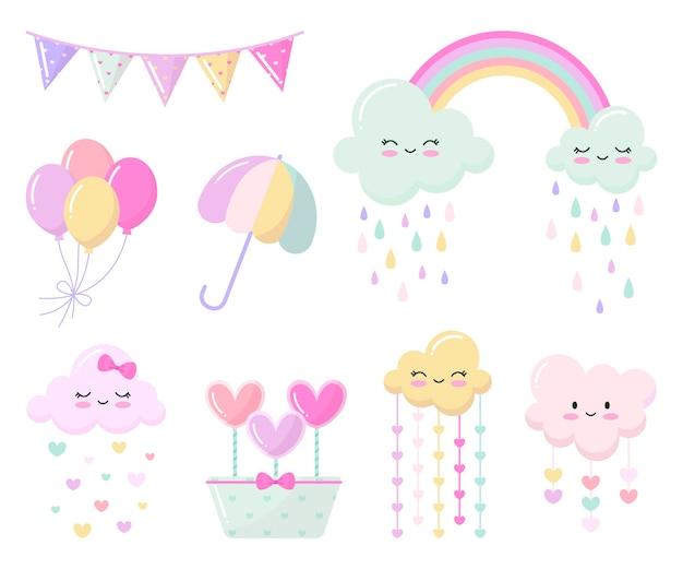 Płaski zestaw elementów dekoracyjnych chuva de amor