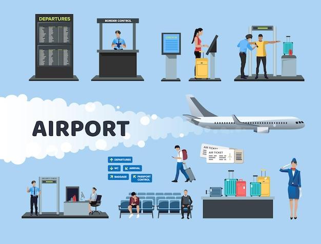Płaski zestaw elementów lotniska na białym tle: krzesła, stanowiska odprawy, ramka kontrolna, tablica przylotów i odlotów, bagaż, bilety, samolot