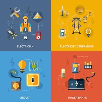 Płaski zestaw energii elektrycznej