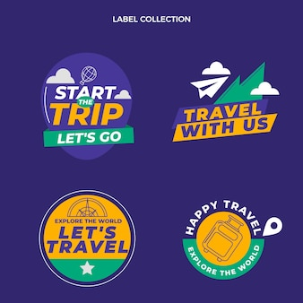 Płaski zestaw etykiet podróżnych