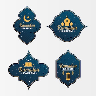 Płaski zestaw etykiet ramadan