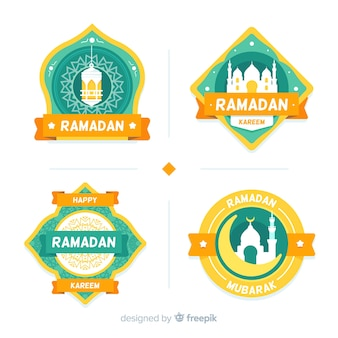 Płaski zestaw etykiet ramadanu