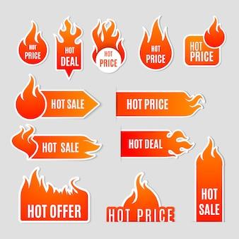 Płaski zestaw etykiet sprzedaży ognia