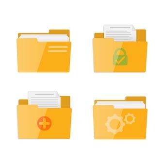 Płaski zestaw folderów dla aplikacji