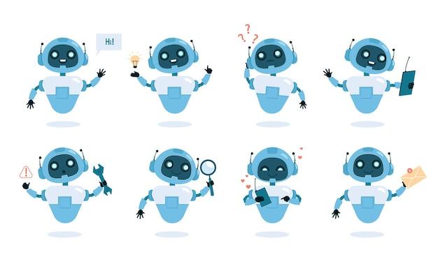 Płaski zestaw funkcji i możliwości chatbota. śliczny robot z instrumentami, inteligentna maszyna w różnych pozach kolorowa kompozycja.