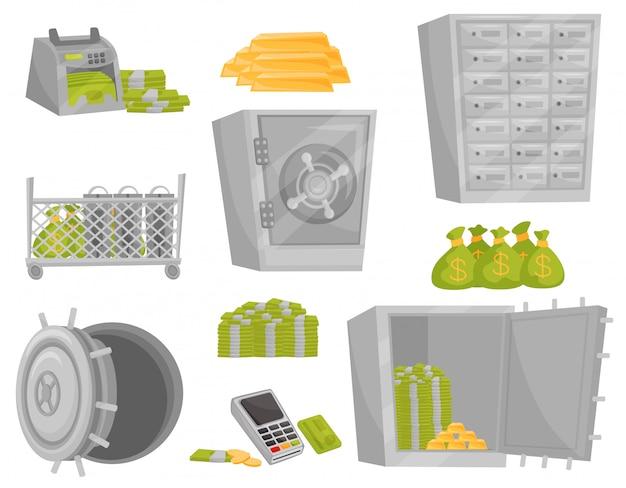 Płaski zestaw ikon banku. licznik banknotów, sztabki złota, worki pieniędzy, drzwi sejfu, skrzynki depozytowe. temat finansowy