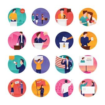 Płaski zestaw ikon dnia wyborów