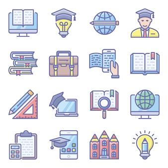 Płaski zestaw ikon edukacji szkolnej