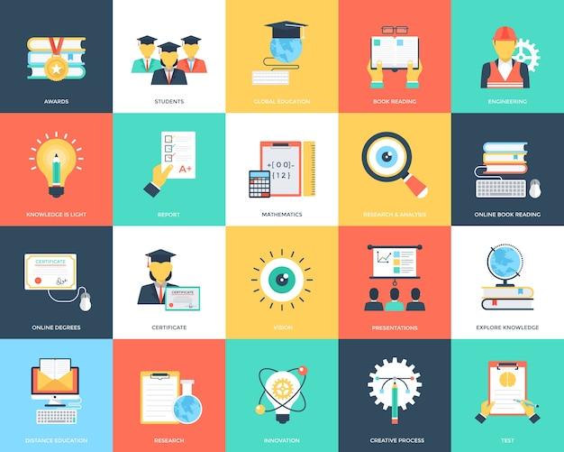 Płaski zestaw ikon edukacji