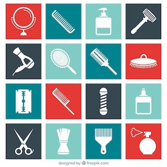 Płaski zestaw ikon fryzjera