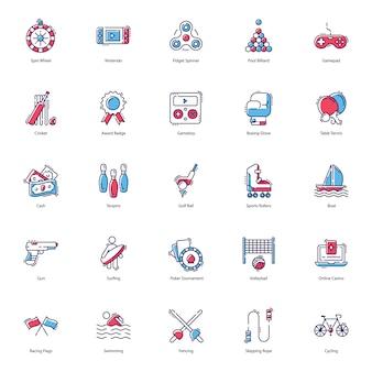 Płaski zestaw ikon hazardu