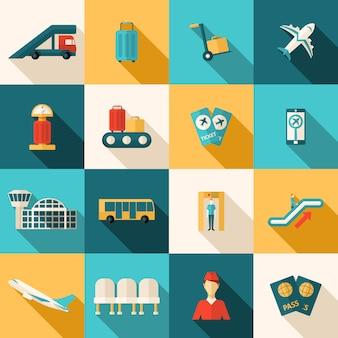 Płaski zestaw ikon lotnisko