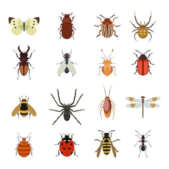 Płaski zestaw ikon owadów
