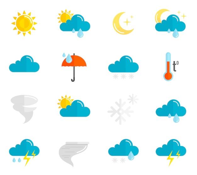 Płaski zestaw ikon pogody