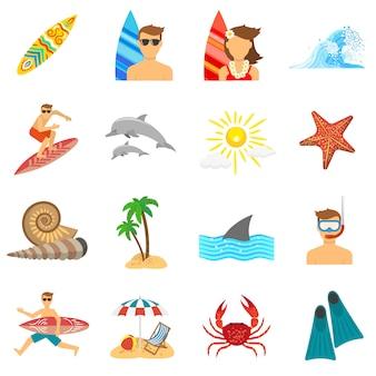 Płaski zestaw ikon surfingu