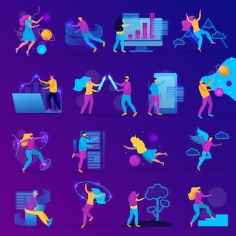 Płaski zestaw ikon wirtualnej rzeczywistości z grami dziewcząt i chłopców w okularach vr