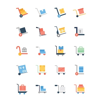 Płaski zestaw ikon wózek na bagaż