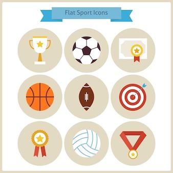 Płaski zestaw ikon wygranej sportu i konkurencji. sport i zajęcia. lider sukcesu i zwycięzca. pierwsze miejsce. kolekcja ikon koło powrót do szkoły. zdrowy tryb życia.