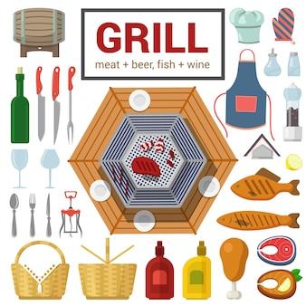 Płaski zestaw ikon wysokiej jakości wysokiej jakości grill mięso ryba grill grill stek przedmiot sztućce do wina szkło sól pieprz keczup musztarda noga kurczaka korkociąg jedzenie napoje gotowanie kolekcja na świeżym powietrzu