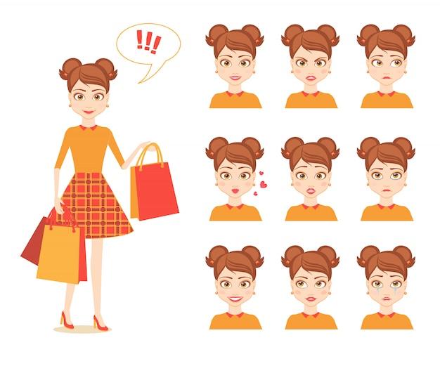 Płaski zestaw ilustracji emocjonalnej młodej ładnej dziewczyny nastolatka.