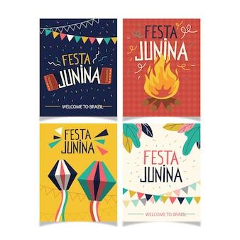 Płaski zestaw kart festa junina