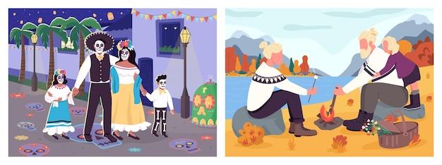 Płaski zestaw kolorów aktywności rodzinnej. piknik na wsi. karnawał zmarłych. rodzice z dziećmi postacie z kreskówek 2d z miejskimi i przyrodniczymi sceneriami na kolekcji tła