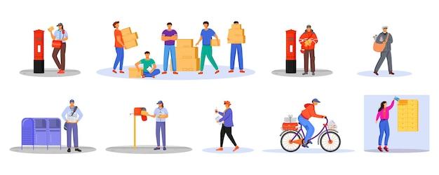 Płaski zestaw kolorów pracowników poczty i ładowarki. mężczyzna otrzymuje paczki. dostawa usług pocztowych. pudełka i paczki transport na białym tle kreskówka