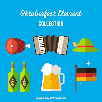 Płaski zestaw kolorowych elementów niemieckich