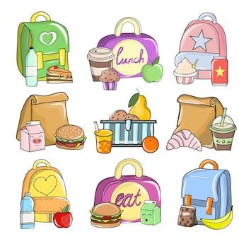 Płaski zestaw kolorowych kompozycji ze szkolnym jedzeniem. zdrowe i pożywne posiłki