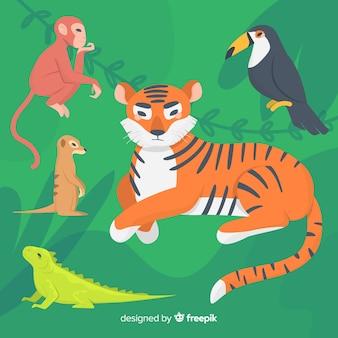 Płaski zestaw kolorowych zwierząt ilustrowany zestaw