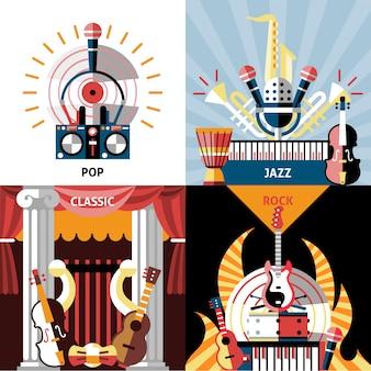 Płaski zestaw kompozycji instrumentów muzycznych. pop, jazz, klasyka i rock