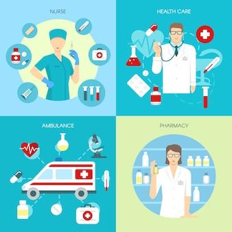 Płaski zestaw kompozycji medycyny