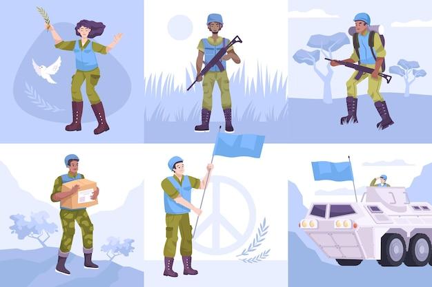 Płaski zestaw kompozycji sił pokojowych