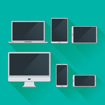 Płaski zestaw konturów komputerów i gadżetów