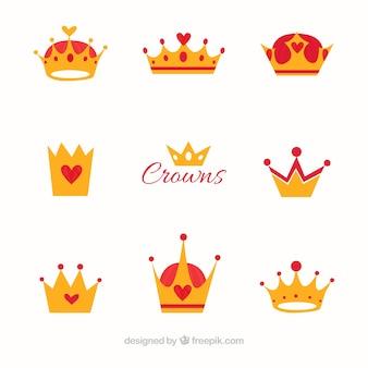 Płaski zestaw koron z czerwonymi elementami