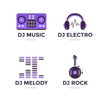 Płaski zestaw logo dj