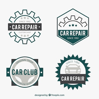 Płaski zestaw logo dla zakładów samochodowych