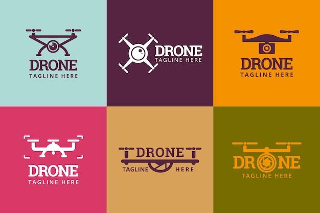 Płaski zestaw logo drona