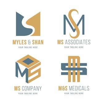 Płaski zestaw logo ms