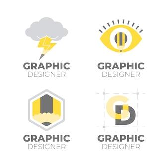 Płaski zestaw logo projektanta graficznego