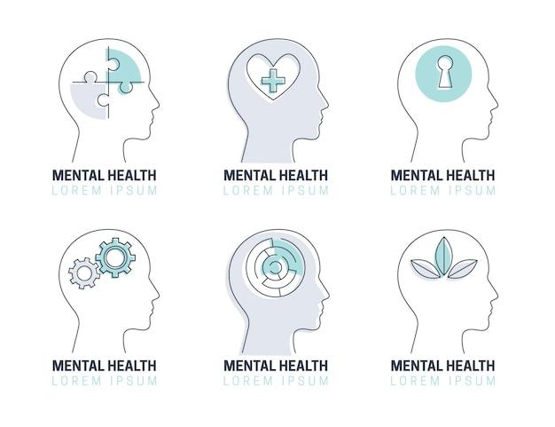Płaski Zestaw Logo Zdrowia Psychicznego Darmowych Wektorów
